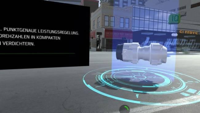 Virtual Reality Anwendung eines Verdichters, um die Anwendung für den Zuschauer greifbarer zu machen.