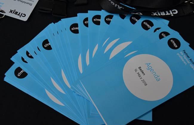 Die gedruckte Agenda einer Citrix Veranstaltung in Baden.