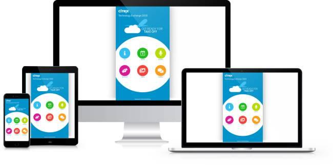 Die Citrix Technology Exchange Event App auf verschiedenen Geräten.