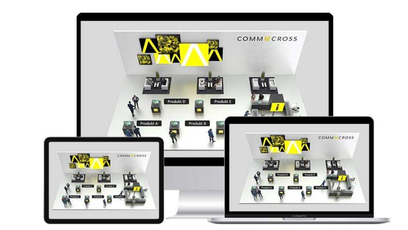 Virtueller Messestand von commacross auf mehreren Geräten: Desktop-PC, Tablet-PC und Laptop