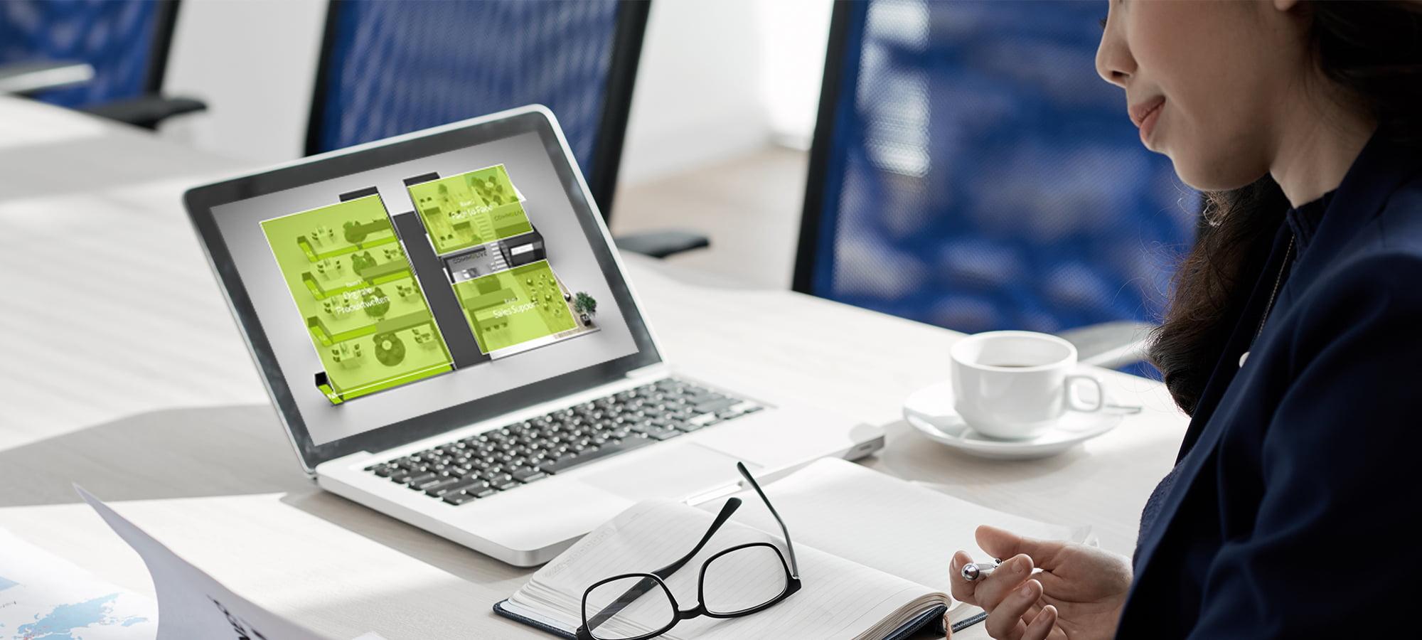 Digitale Produktpräsentation als Messe-Ersatz auf einem Notebook.