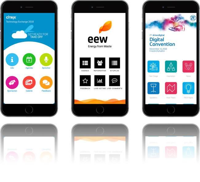 Verschiedene Eventapps auf Smartphones.