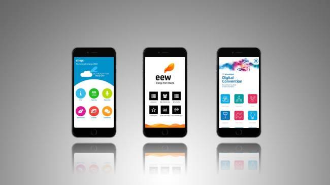 Eventapps verschiedeneer Kunden auf Mobiltelefonen abgebildet.