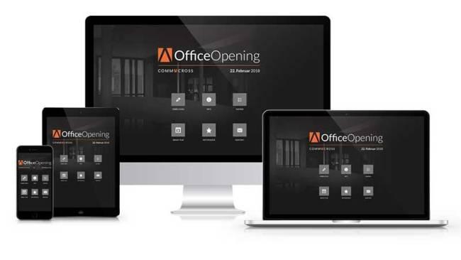 Eine beispielhafte Event App für ein Office Opening wird auf verschiedenen Geräten vorgestellt.