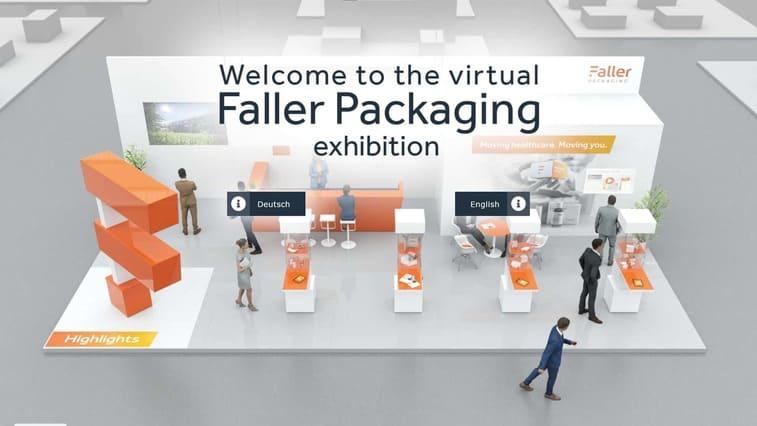 Virtueller Messestand der Firma Faller Packaging, entwickelt und realisiert von commacross.
