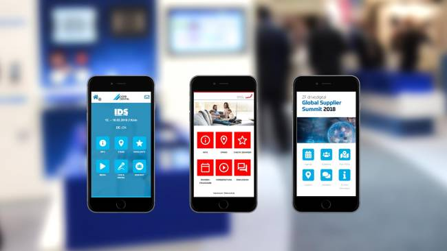 Verschiedene Eventapps auf drei Smartphones.