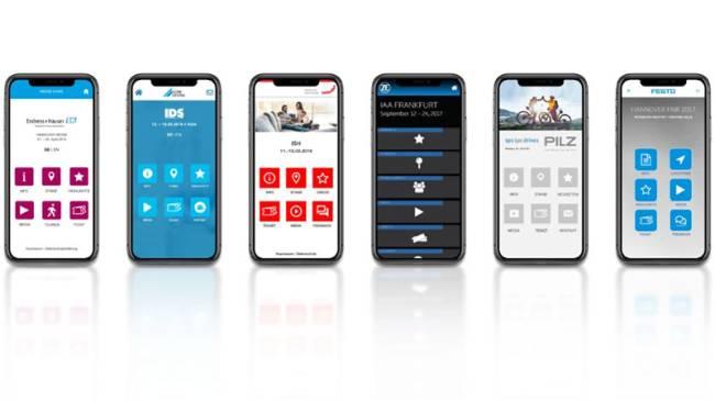 Eventapps für sechs verschiedene Kunden auf Smartphones.
