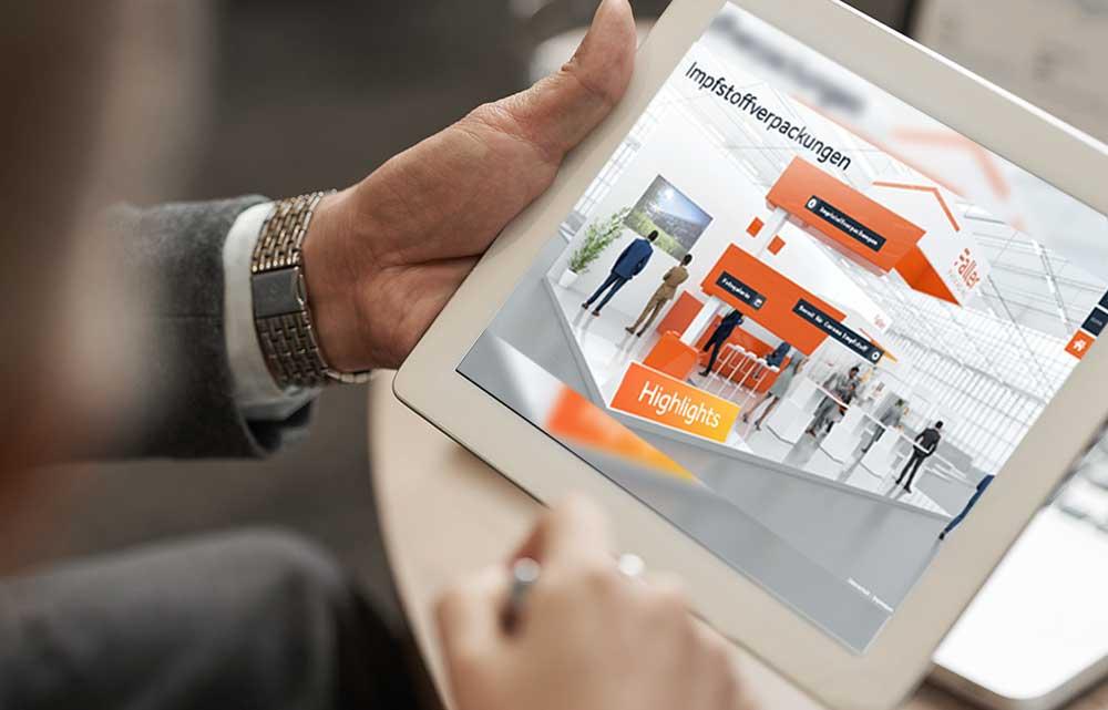 Digitale Messe, Anwendung von commacross auf einem iPad.