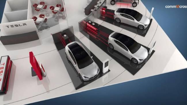 Emotionale, moderne Messestand-Konzeption und Design-Entwuerfe für die Marke Tesla